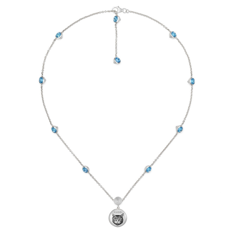 Gucci Silver Blind for Love Blue Zirconia Circle Pendant Necklace Full View