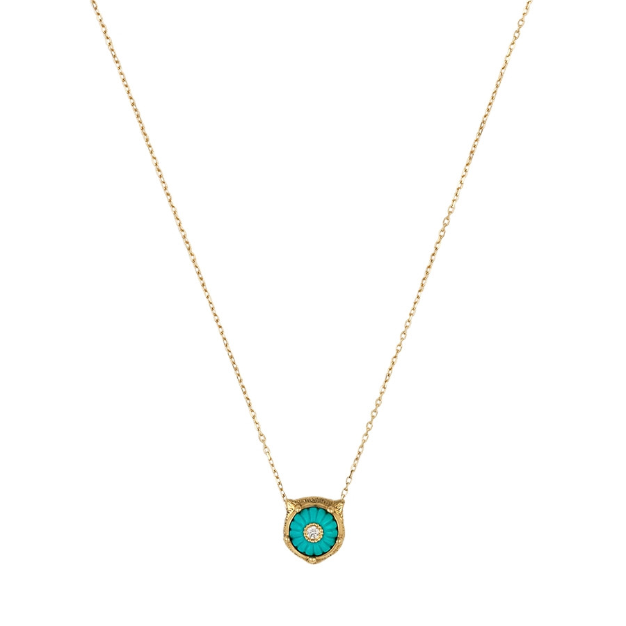 Gucci Carved Turquoise & Diamond Feline Head Pendant Le Marche des Merveilles Necklace
