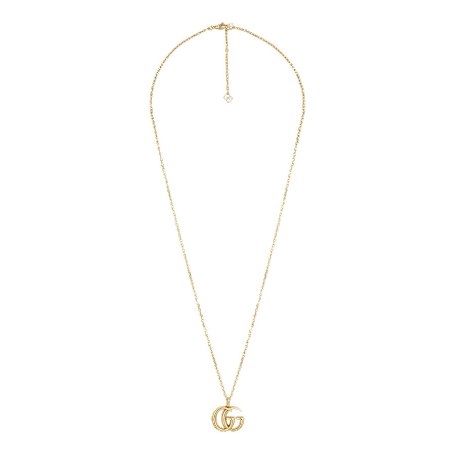 Gucci Yellow Gold Large Double G Pendant GG Running Necklace Full View