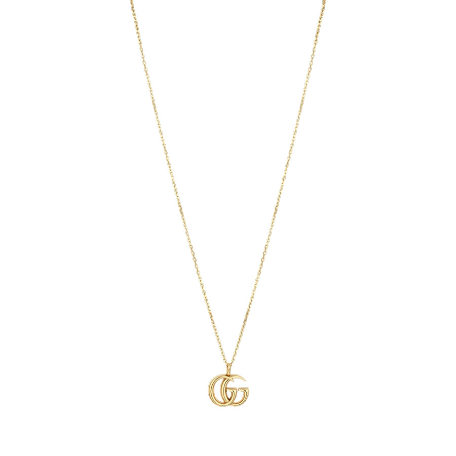 Gucci Yellow Gold Large Double G Pendant GG Running Necklace