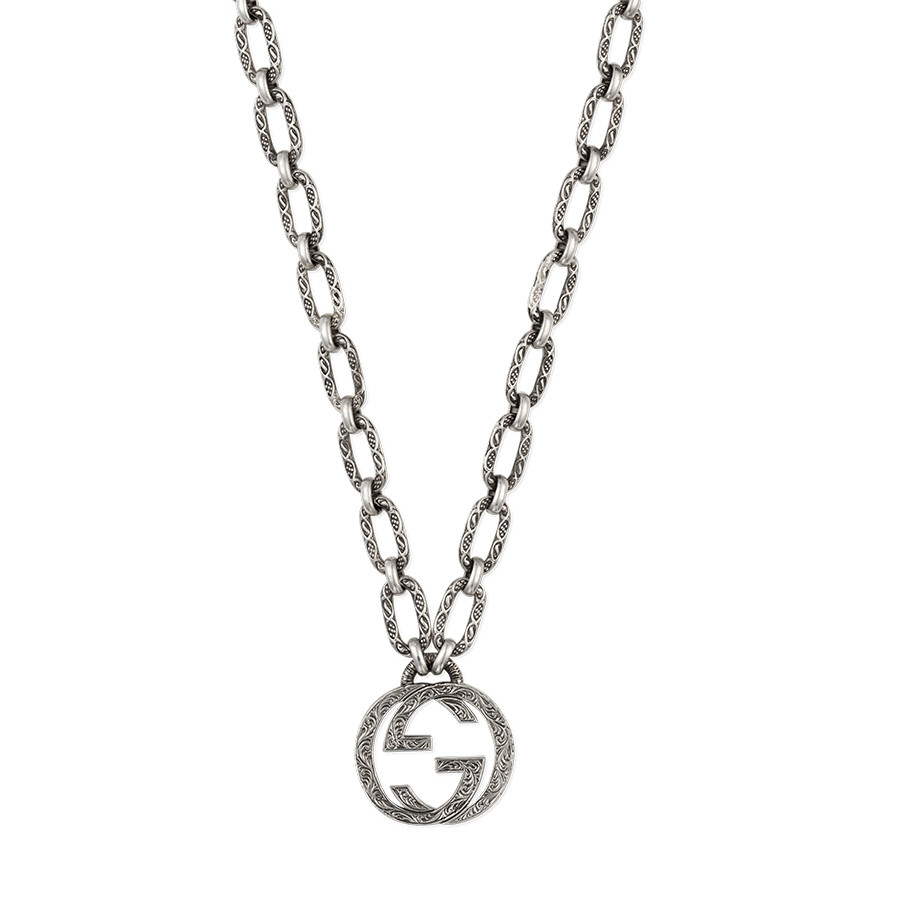 Gucci Sterling Silver Small Pendant Chain Link Interlocking G Necklace