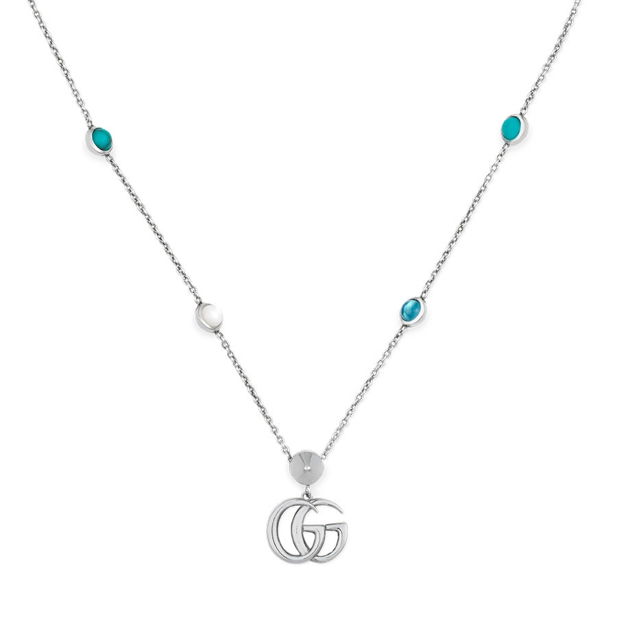 Gucci GG Marmont Mother of Pearl & Topaz Pendant Double G Necklace
