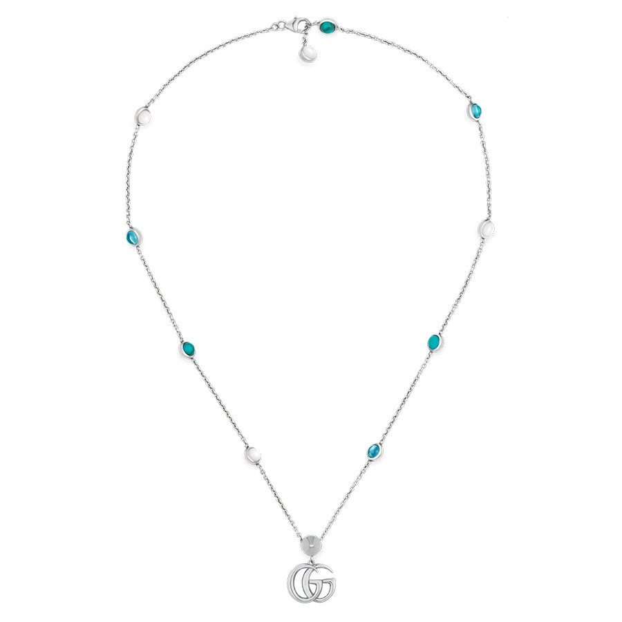 Gucci GG Marmont Mother of Pearl & Topaz Pendant Double G Necklace Full View