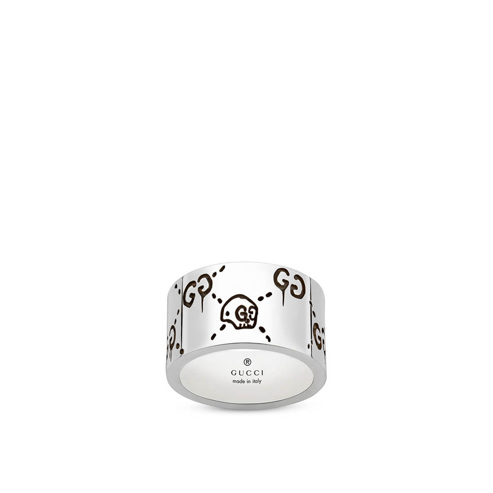 0a7a4be0e3372 Gucci Ghost 12mm Wide Sterling Silver Band Ring