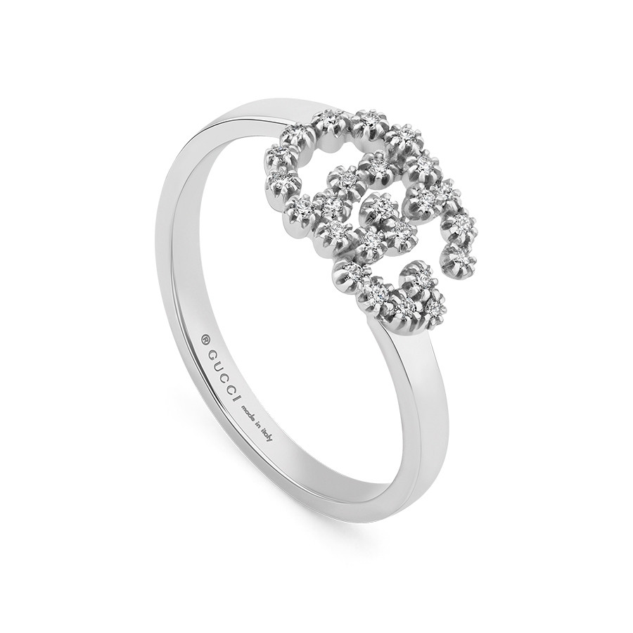Gucci Double G Diamond Ring in 18k White Gold