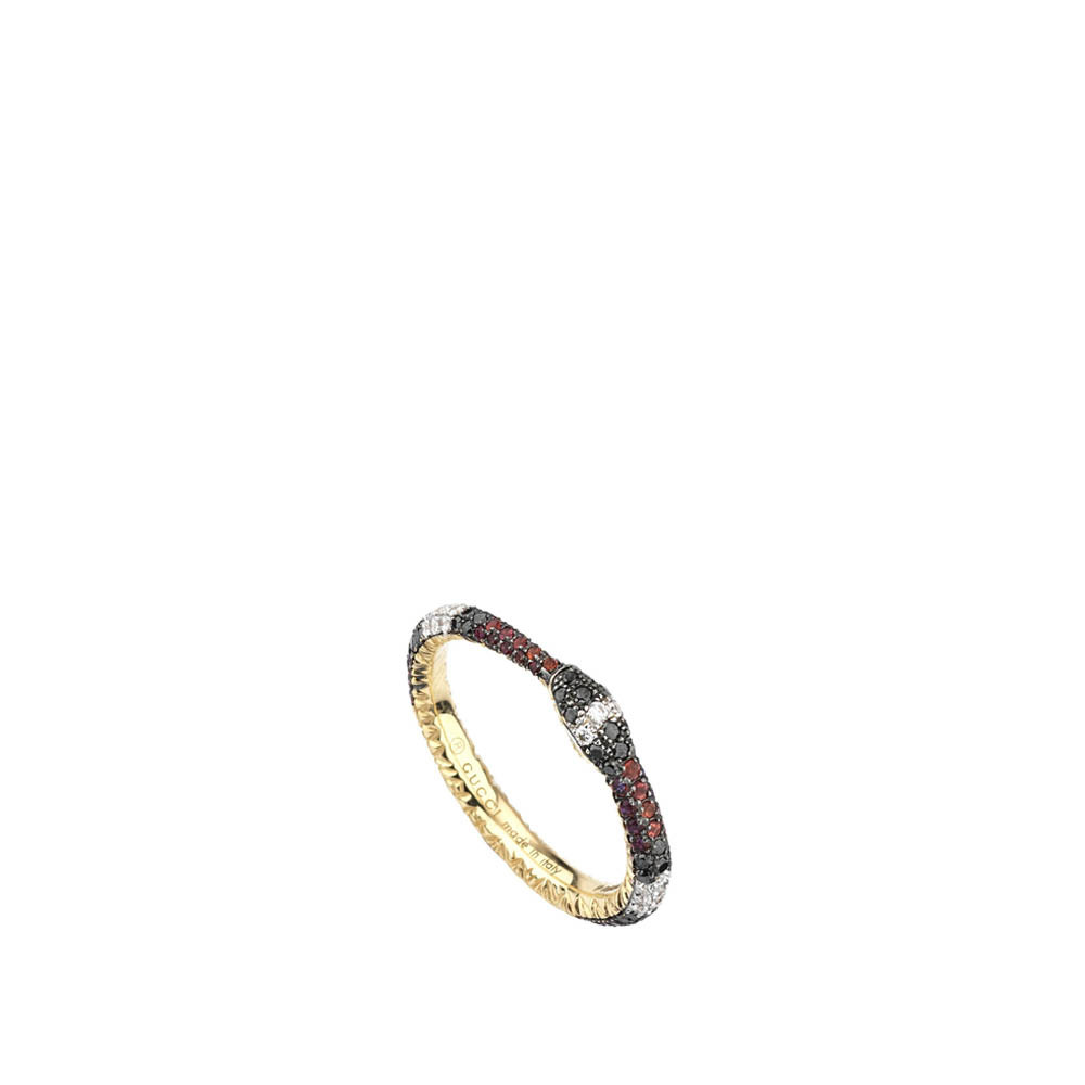 Gucci Ouroboros Mixed Gemstone Kingsnake Band Ring