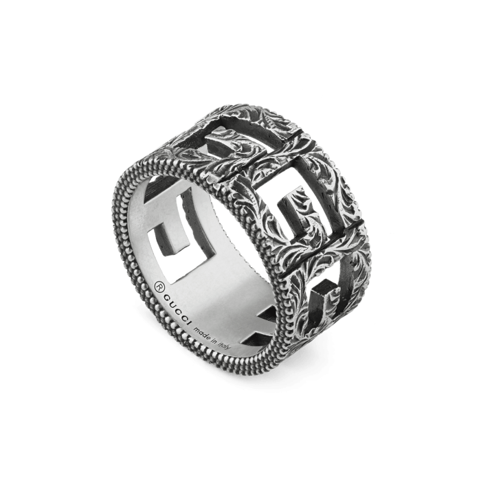 Gucci G Cube Cut Out Sterling Silver Ring Main