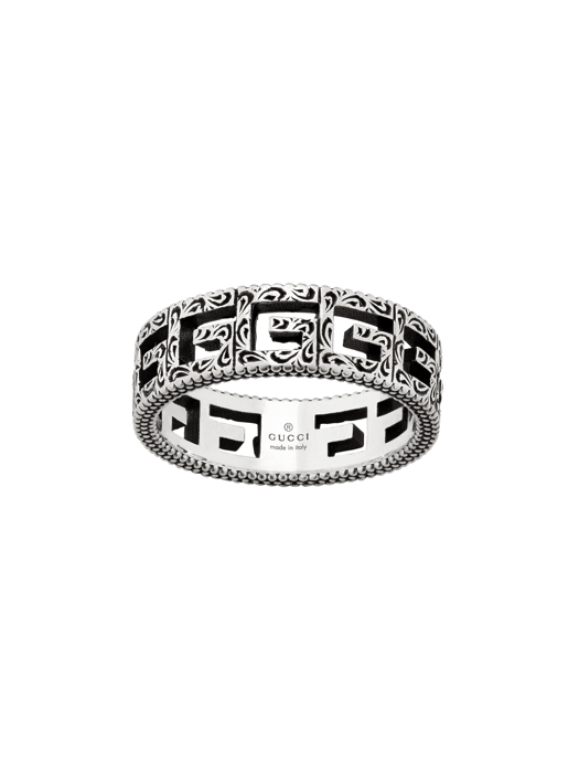 Gucci G Cube Cut Out Sterling Silver Ring front image