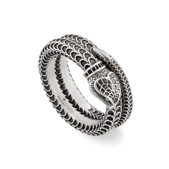 Gucci Sterling Silver Double Band Snake Ring main image