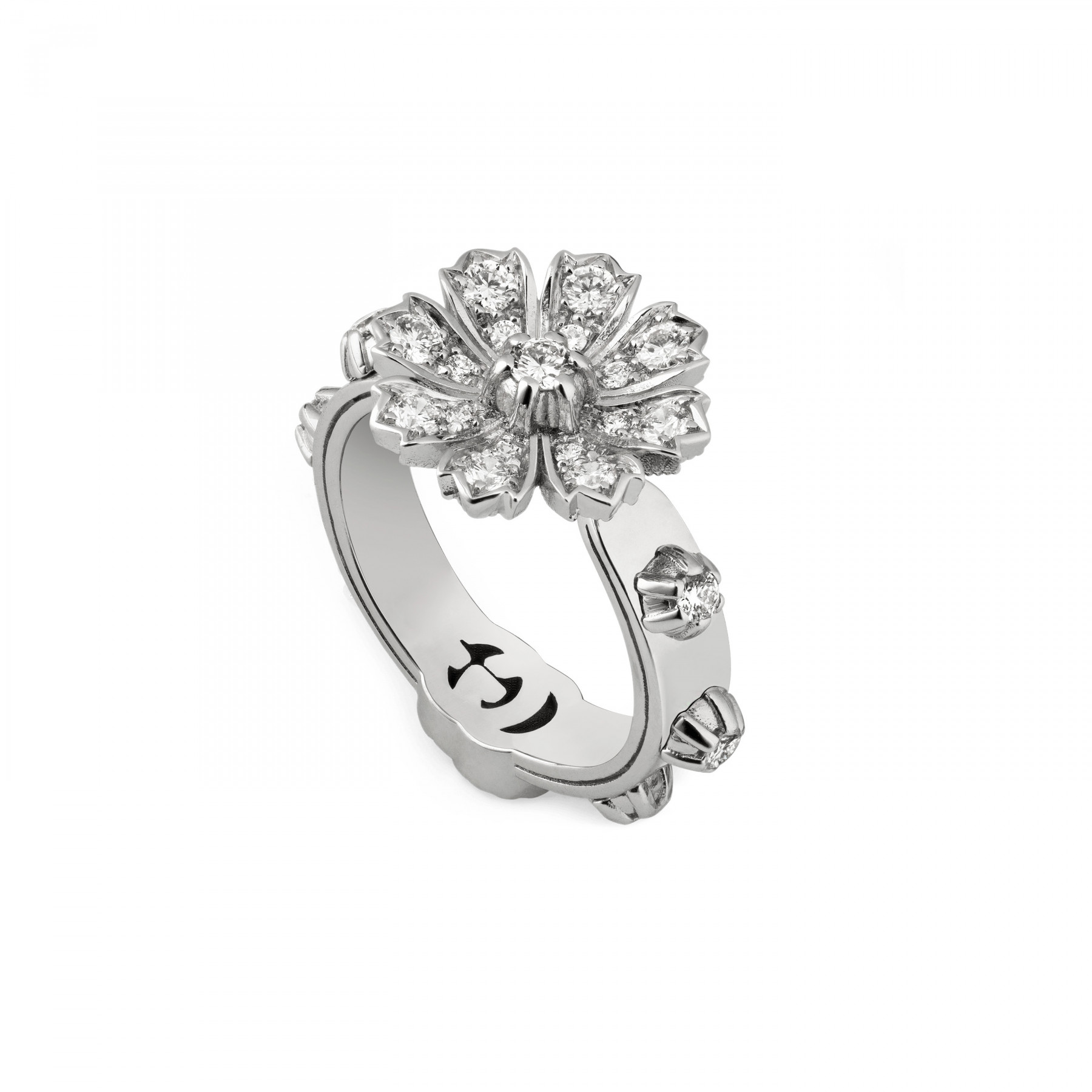 Gucci Flora Diamond Flower Ring in White Gold