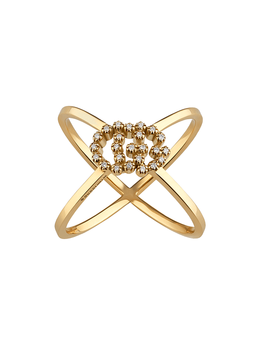 Gucci GG Running 18K Gold and Diamond Ring