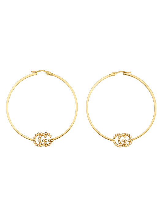 b5c19ed7c88 Gucci GG Running 18K Gold and Diamond Hoop Earrings