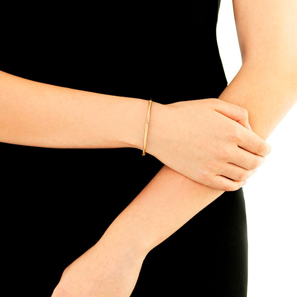 John Hardy Gold Slim Bamboo Bangle on Model