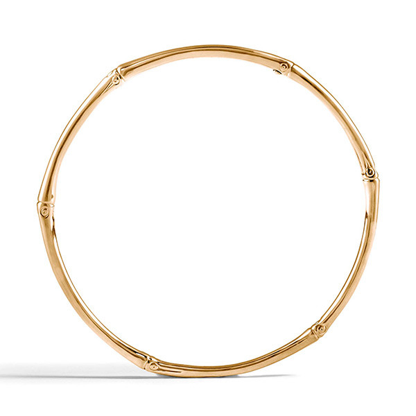 John Hardy Gold Slim Bamboo Bangle Profile View