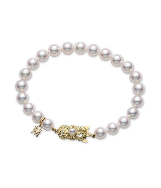 Mikimoto Yellow Gold Pearl Single Strand Bracelet