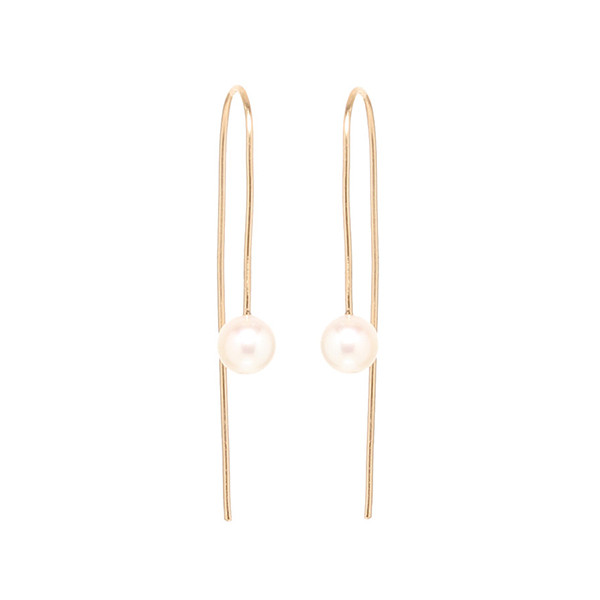 Zoe Chicco Yellow Gold Pearl Wire Earrings