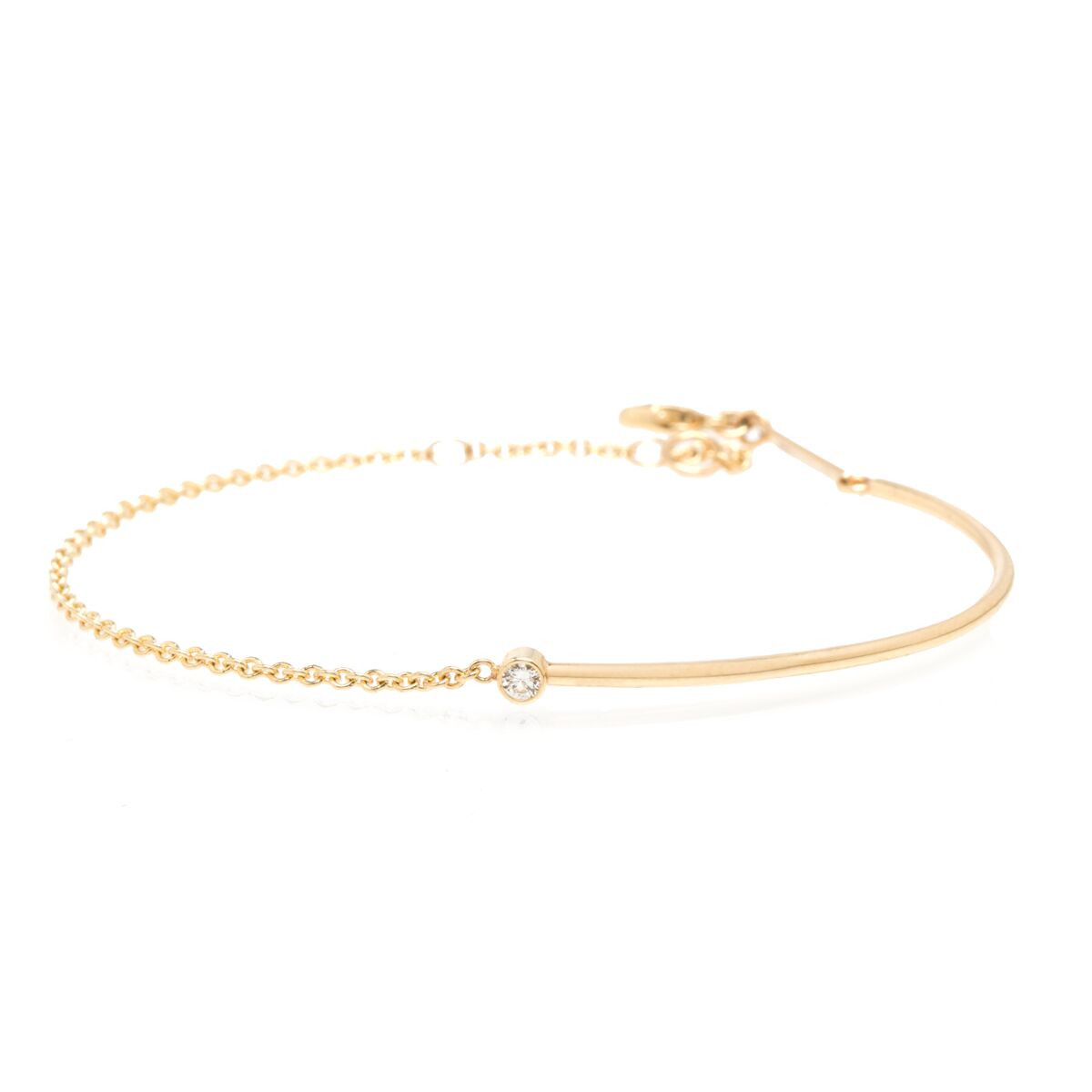 Zoe Chicco Wire and Chain Bracelet in Yellow Gold