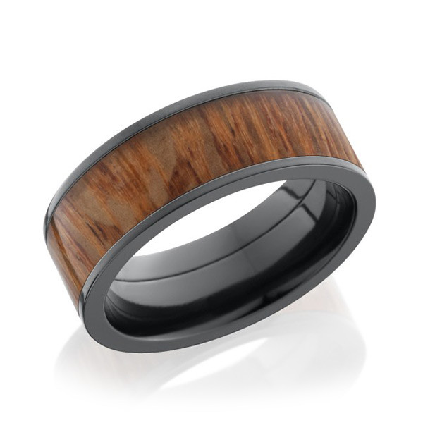Lashbrook 8mm Flat Leopard Wood Inlay Band Ring