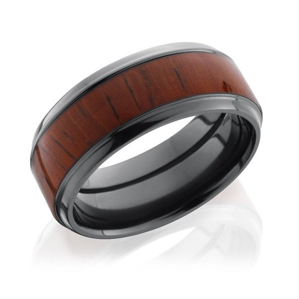Lashbrook Zirconium Padauk Wood Inlay Wedding Band