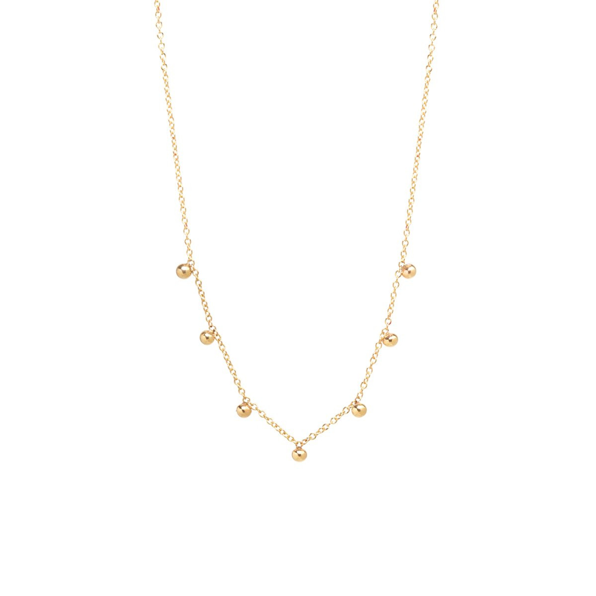 Zoe Chicco Seven Station Bead Necklace in 14K Gold