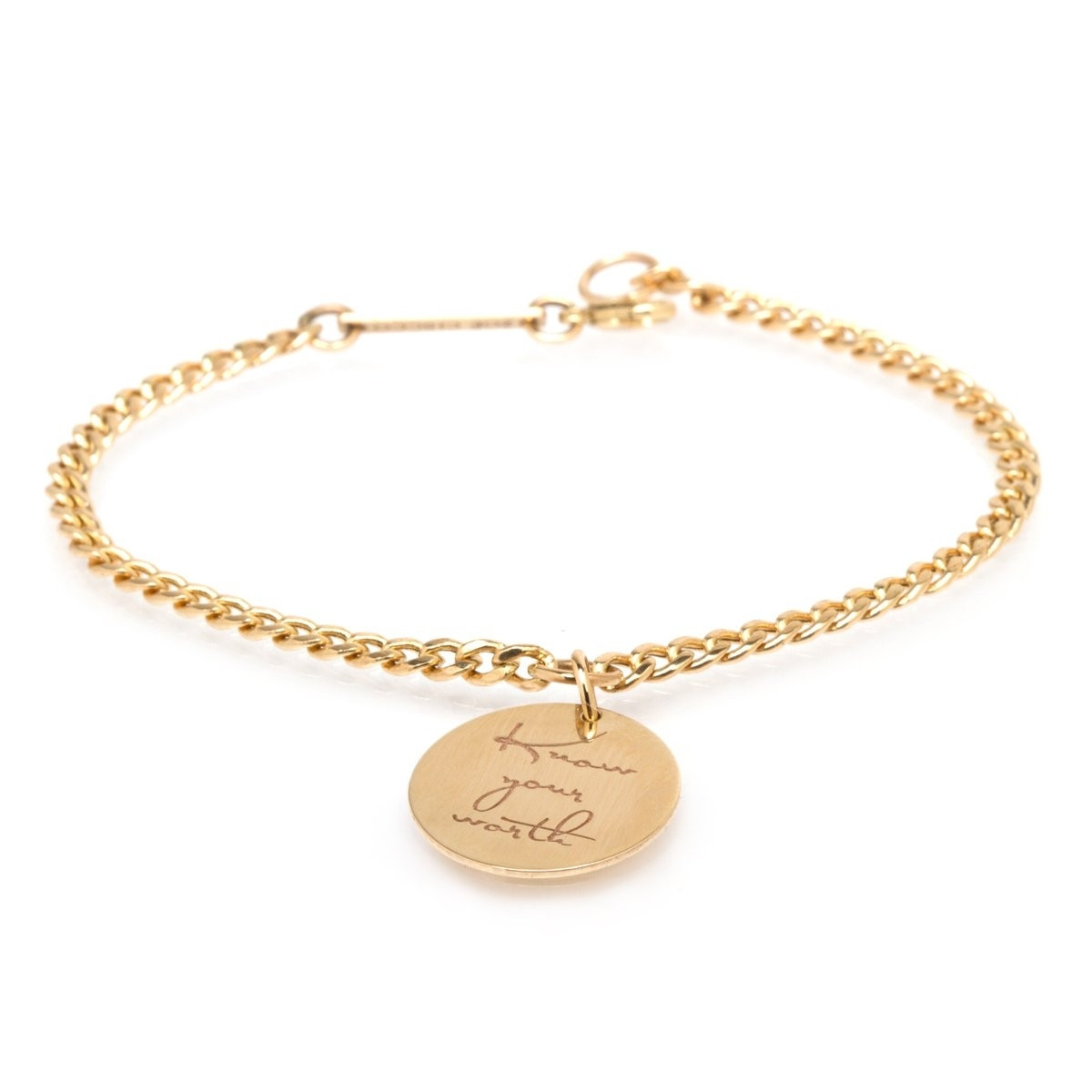"Zoë Chicco Small Mantra Charm Bracelet ""Know your worth"""