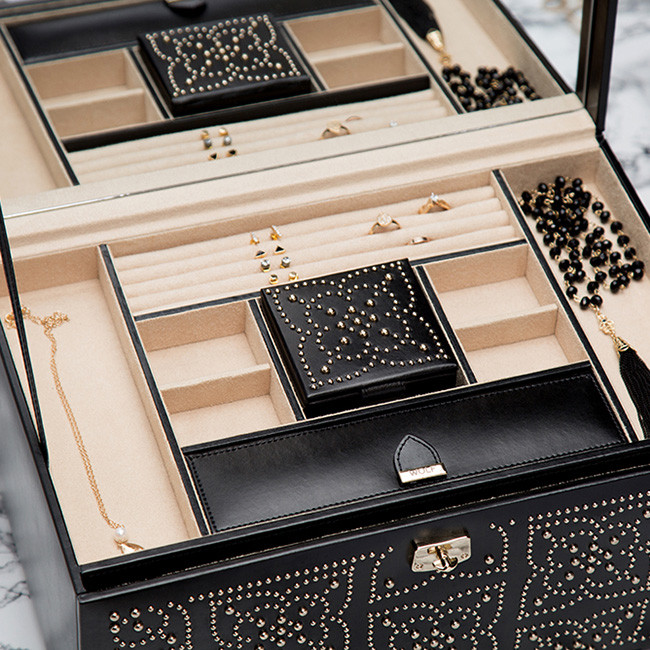 Wolf Marrakesh Large Black Studded Leather Jewelry Box