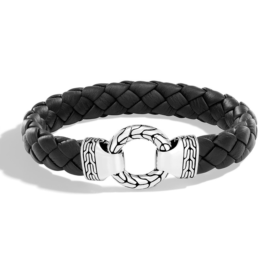 John Hardy Braided Leather Silver Ring Clasp Bracelet