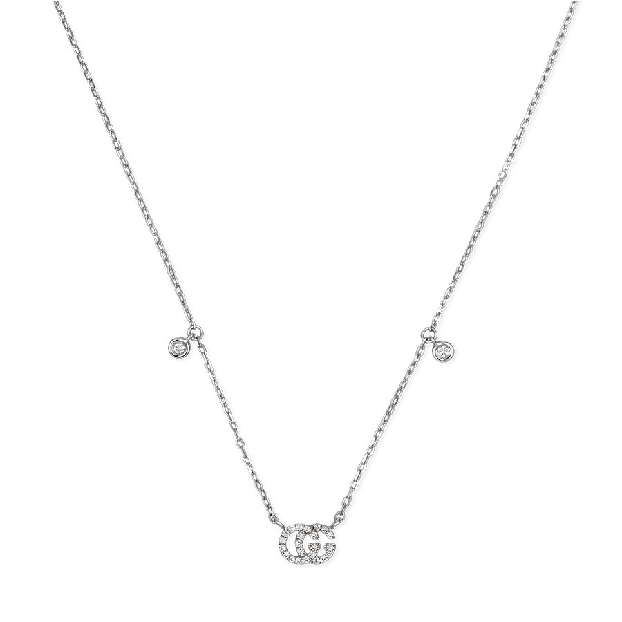 Gucci gg running white gold diamond station necklace gucci small white gold diamond station pendant running g necklace close up aloadofball