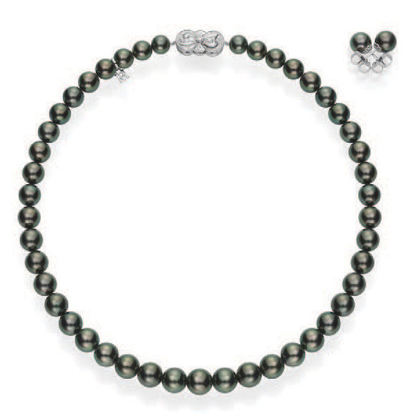 Mikimoto Pearls Necklace: Mikimoto Ginza Black Pearl Necklace And Earrings Set