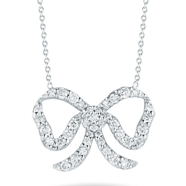 Roberto coin 000350awchx0 pave diamond bow necklace roberto coin diamond bow necklace aloadofball Images