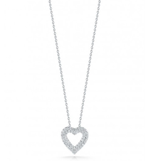 Roberto coin 000903awchx0 double diamond heart necklace roberto coin tiny treasures double open heart diamond pendant necklace 017ctw mozeypictures Gallery