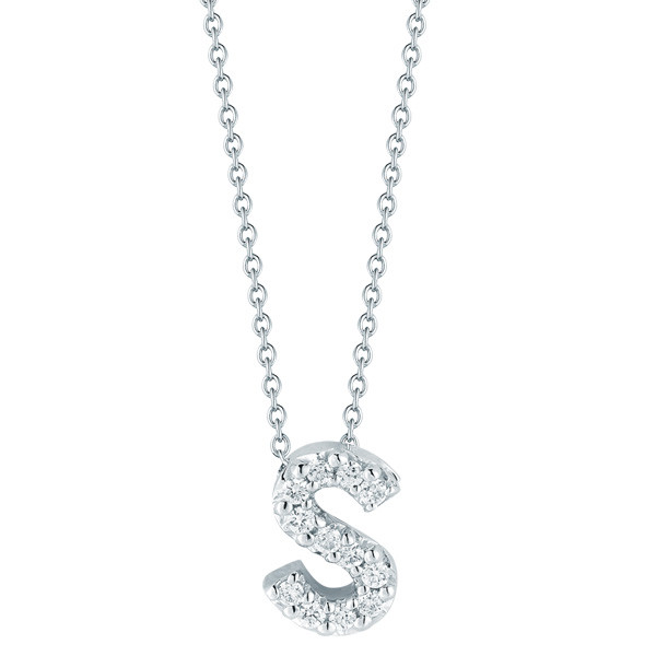Roberto coin pave diamond letter s pendant 001634awchs s necklace diamond initial aloadofball Images