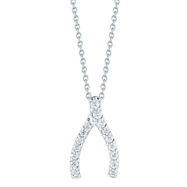 Roberto coin white gold wishbone necklace with diamonds roberto coin wishbone diamond necklace aloadofball Image collections