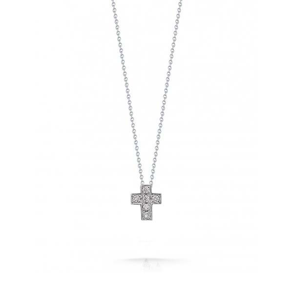 Roberto coin 001887awchx0 box cross diamond necklace tiny treasure white gold diamond cross pendant mozeypictures