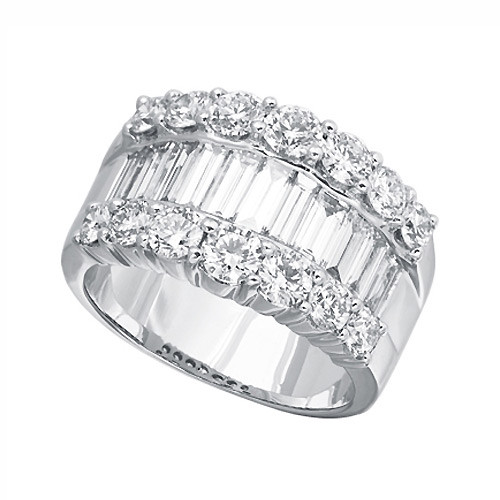 Baguette Diamond Wide Band Ring L Best Price Promise