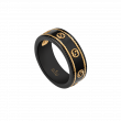 Gucci Icon Interlocking G Black and Yellow Gold Band Ring
