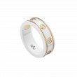 Gucci Icon Interlocking G White and Yellow Gold Band Ring main view