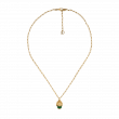 Gucci Lion Head Diamond and Green Gemstone Necklace in Yellow Gold main view