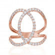 Rose Gold and Diamond Geometric Circle Ring