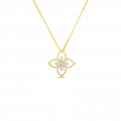 Roberto Coin Principessa 18K Gold Flower Diamond Necklace front view