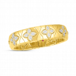Roberto Coin Royal Princess Flower Wide Bangle in 18K Yellow Gold