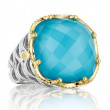 Tacori 18K925 Sterling Silver Clear Quartz & Turquoise Ring with Gold Accents