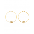 Gucci GG Running 18K Gold and Diamond Hoop Earrings