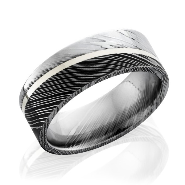 Lashbrook Damascus Steel 8mm Angle-Set Sterling Silver Inlay Flat Band