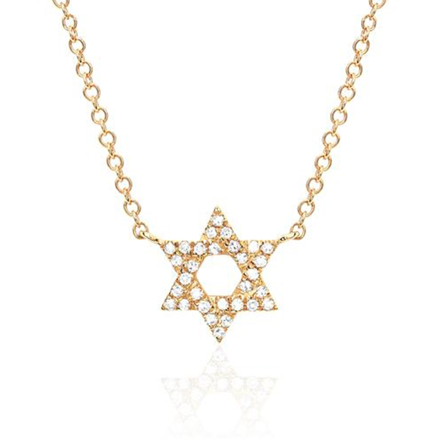 EF Collection Yellow Gold Diamond Star of David Pendant Necklace