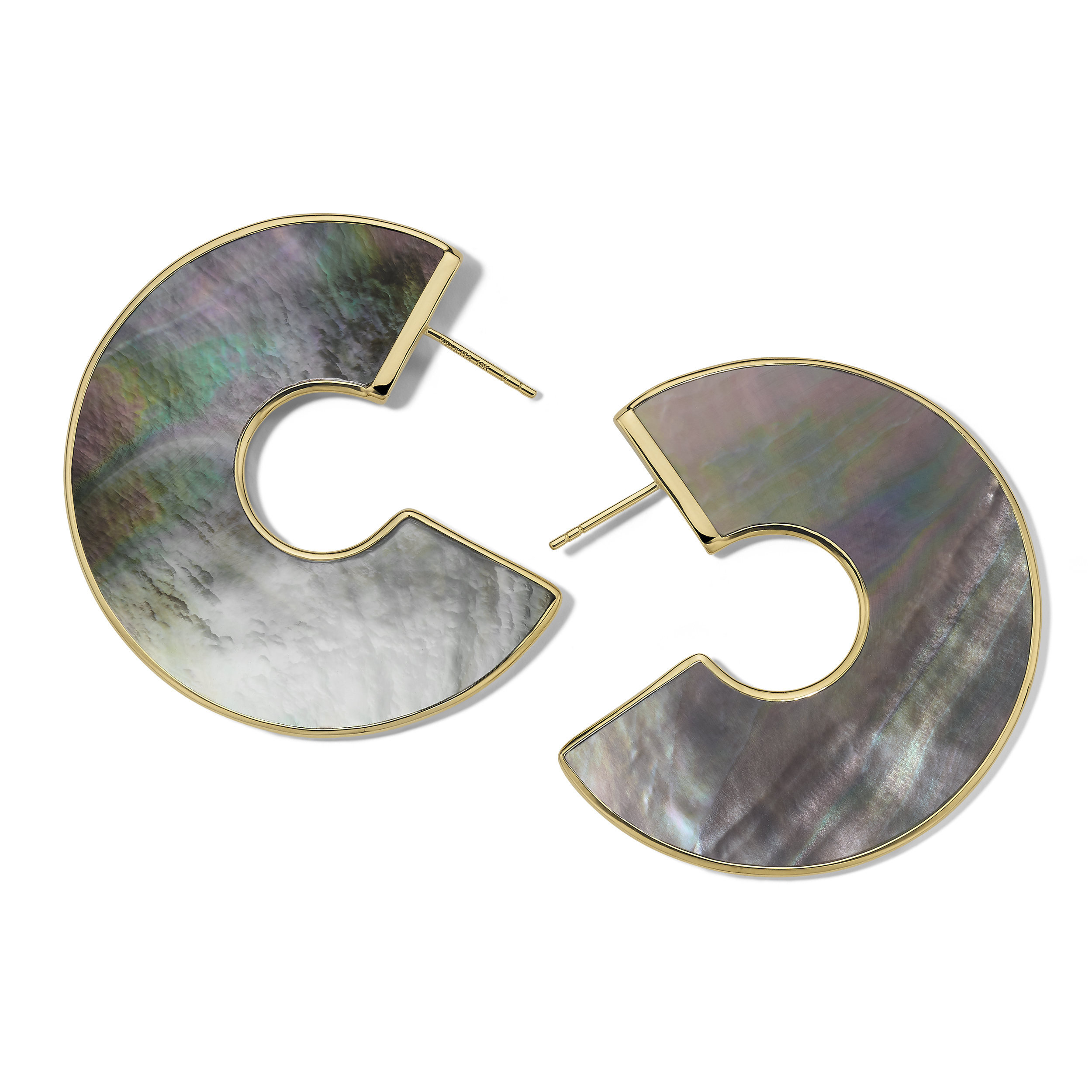 IPPOLITA ROCK CANDY ROUND BLACK SHELL EARRINGS