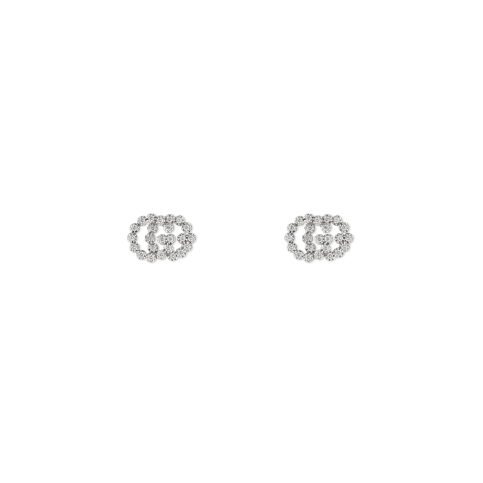ad76e4252 Gucci 18K Gold GG Stud Earrings with Diamonds