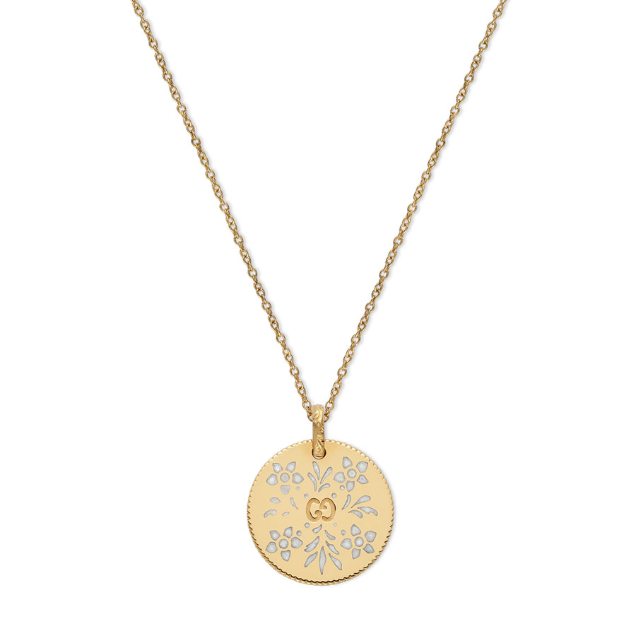 a96315359 Gucci Icon 18K Gold and White Enamel Disc Necklace