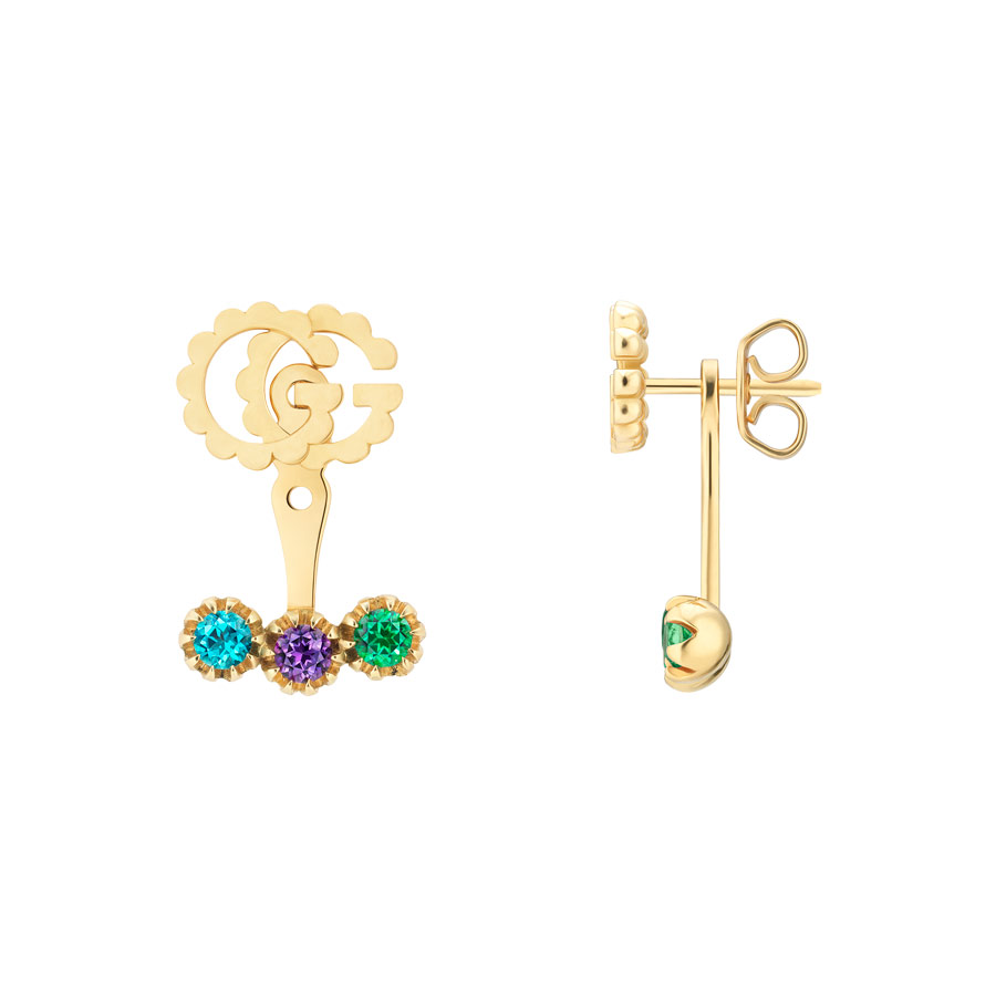5d563db9376 Gucci GG Running Gold Dangle Earring with Gemstones