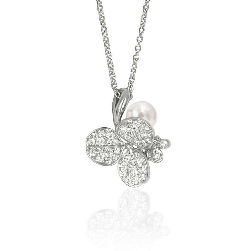 Mikimoto Akoya Pearl White Gold Diamond Fortune Leaves Pendant Necklace 6mm A+